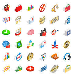 Good business icons set isometric style vector