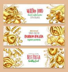 Hand-crafted pasta italian cuisine banners vector