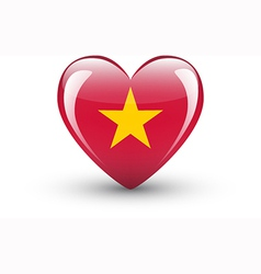 Heart-shaped icon with national flag of Vietnam vector image vector image
