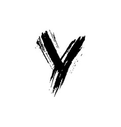 letter y handwritten by dry brush rough strokes vector image