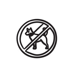 No dog sign sketch icon vector