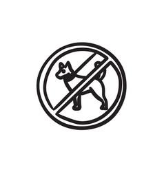 No dog sign sketch icon vector