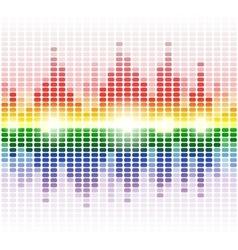 Rainbow shining digital equalizer on white vector image