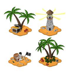 Set of tropical islands in cartoon style vector