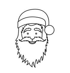Silhouette face cartoon santa claus portrait icon vector