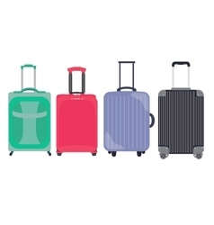 Suitcase travel bag flat icon set collection vector