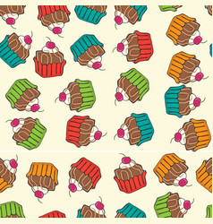 Sweet seamless cupcakes pattern vector
