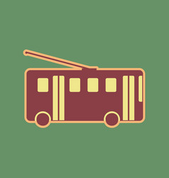 Trolleybus sign cordovan icon and mellow vector