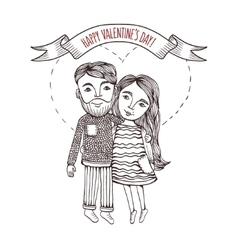 Valentine day card with cartoon style boy and girl vector image vector image