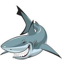 White cheerful shark vector