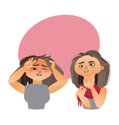 Woman having flu - headache and sore throat vector