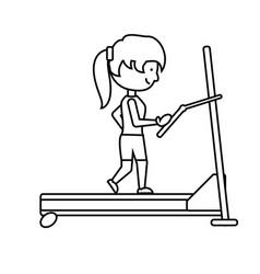 woman running on a treadmill vector image