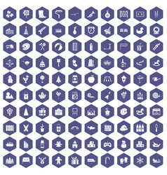 100 preschool education icons hexagon purple vector