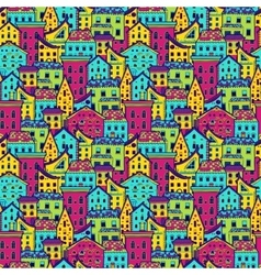 Houses pattern big color vector