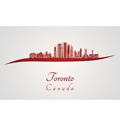 Toronto v2 skyline in red vector