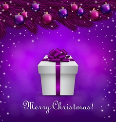 Purple christmas background with a present box vector