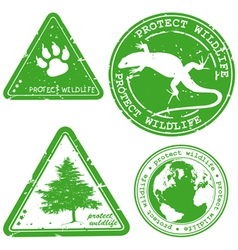 Protect wildlife stamp vector