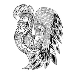 Graphic rooster figure black and white ornament vector