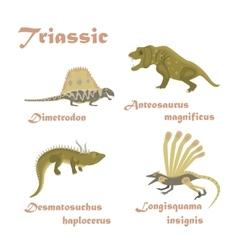 Set triassic reptile dinosaur vector