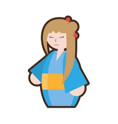 cartoon japanese woman with kimono and umbrella vector image