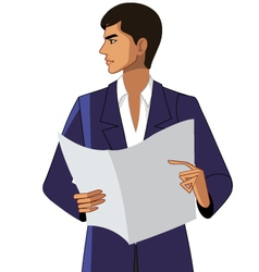 Close-up of man holding paper vector