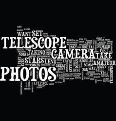 Telescope photos text background word cloud vector