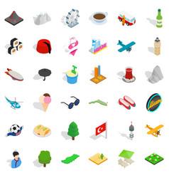 Miami landmark icons set isometric style vector