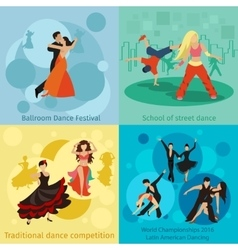 Dancing styles concepts set vector