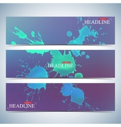 Set of watercolor horizontal backgrounds modern vector