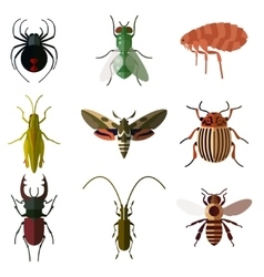 Set of insect flat icons2 vector