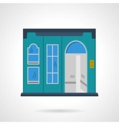 Blue storefront wall flat color design icon vector