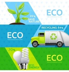Ecology nature recycling flat banners set vector