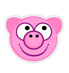 Cartoon cute pink Pig badge vector image