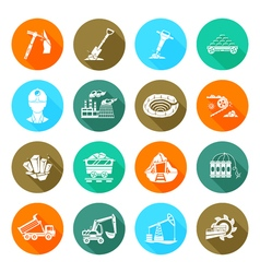 Coalmine equipment flat round icons set vector