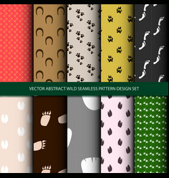 abstract wild seamless pattern design set vector image