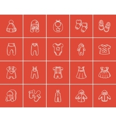 Baby clothes sketch icon set vector image