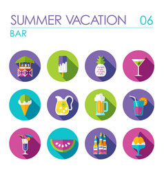 Bar beach flat icon set summer vacation vector