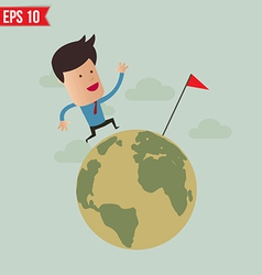 Business man run over the globe - - EPS10 vector image