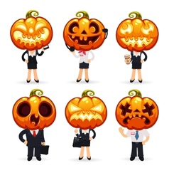 Businessmen With Pumpkins on a Heads vector image vector image