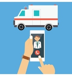call ambulance car doctor mobile phone emergency vector image vector image
