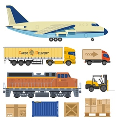 Cargo transport and packaging vector