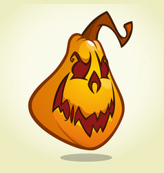 cartoon pumpkin head with an evil expression vector image vector image