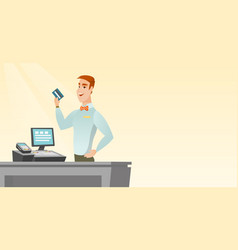 caucasian cashier holding a credit card vector image