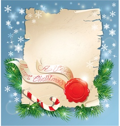 Christmas greeting magic scroll with wax seal vector image
