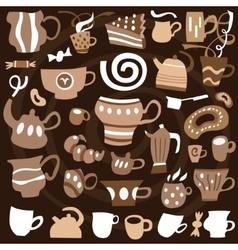 coffee cups - icons set vector image