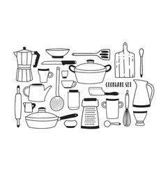 collection of hand drawn kitchen utensils and vector image vector image