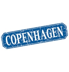 Copenhagen blue square grunge retro style sign vector