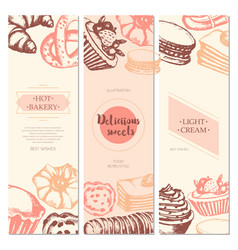 Delicious sweets - color hand drawn square vector