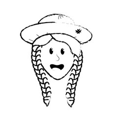 Figure pretty woman face with hat vector