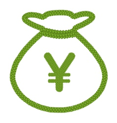 Four Leaf Clover of Euro Sign in Money Bag Icon vector image vector image